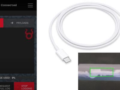 Wireless key-logger hidden inside USB-C to Lightning cable